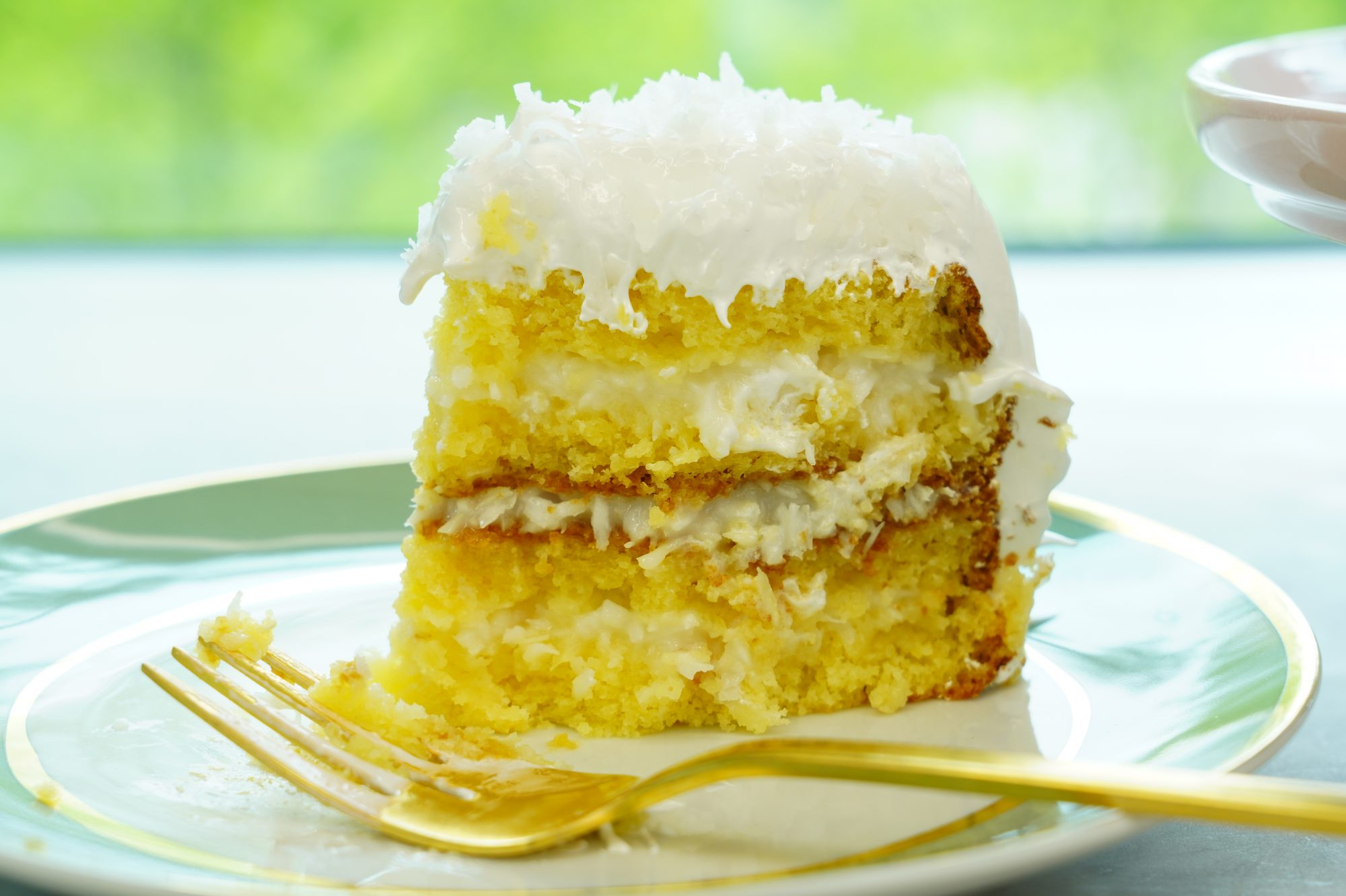 side view of simply the best coconut cake recipe on a plate