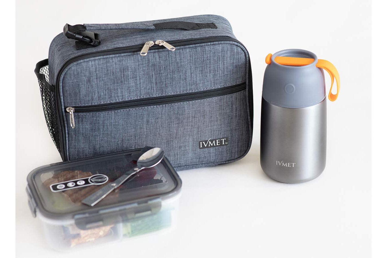 IVMET 3-Piece Lunch Bag Kit Insulated Bento Lunch Box