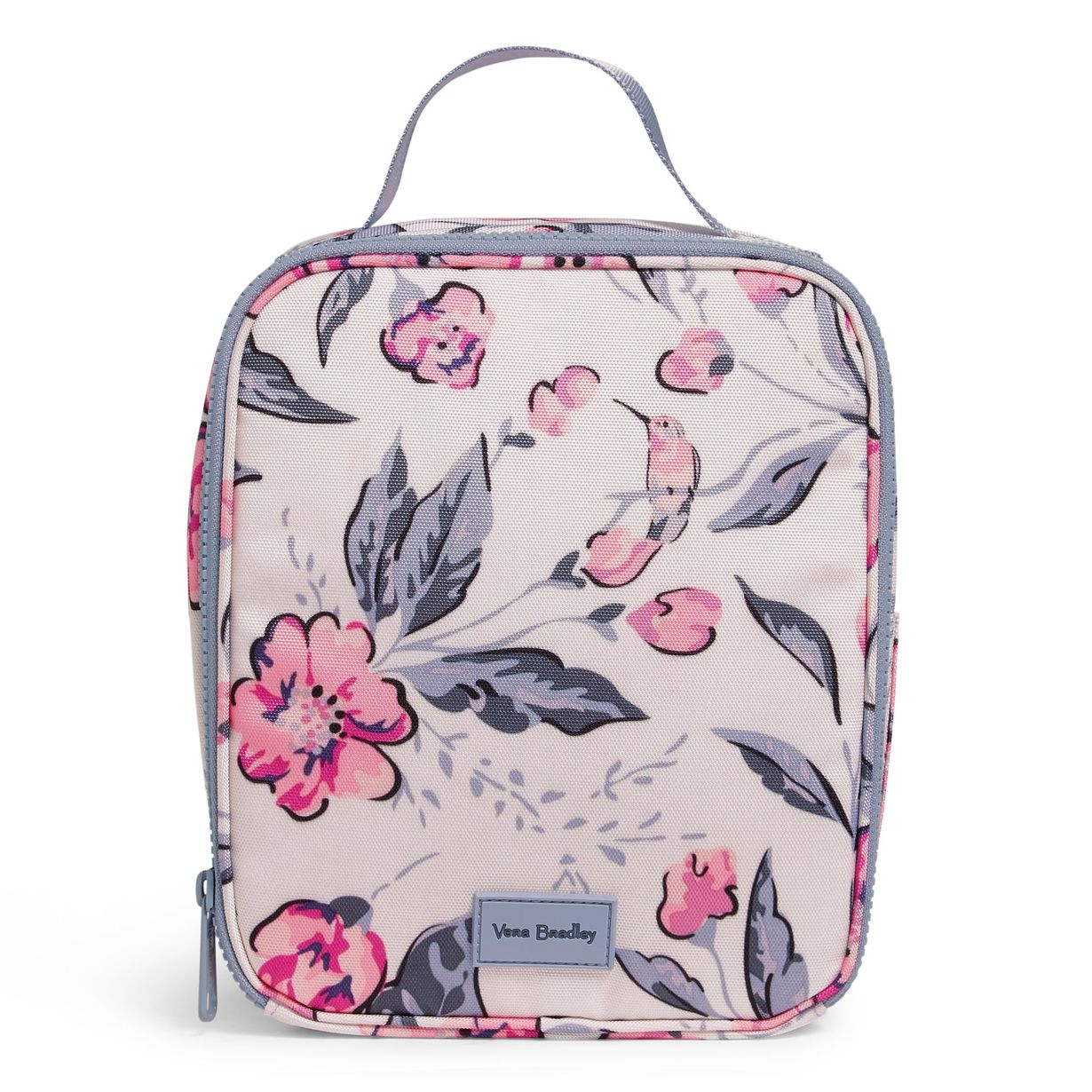 a vera bradley lunch bag with pink and purple watercolor paintings of flowers and hummingbirds