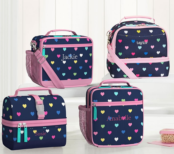 pottery barn kids Mackenzie Navy Pink Multi Hearts Lunch Boxes - four navy lunch boxes with pink trim and tiny colorful hearts