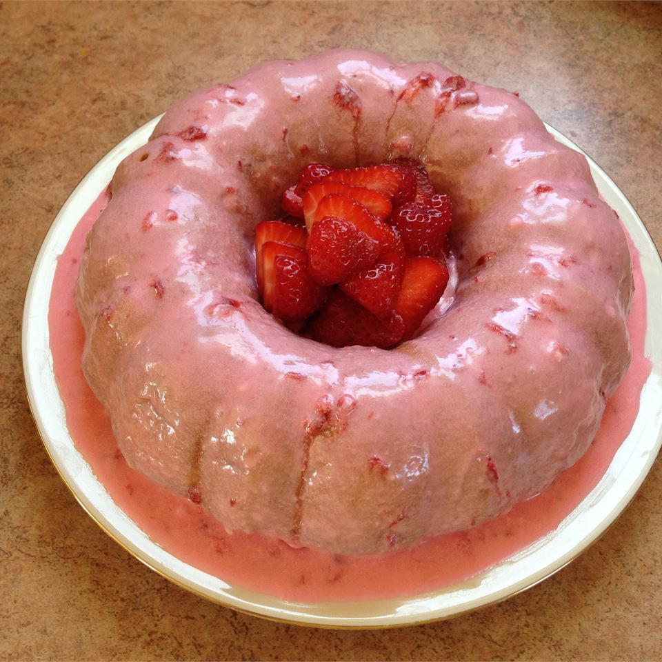 Aunt Kate's Strawberry Cake on a white plate
