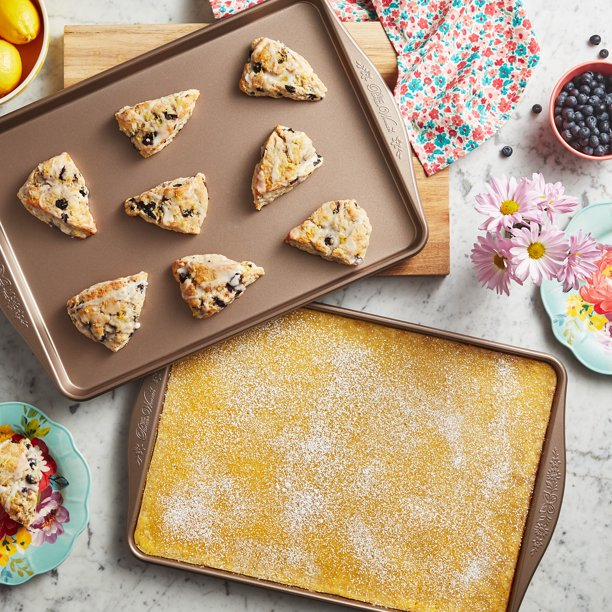 The Pioneer Woman 2-Piece Large Nonstick Baking Sheets with scones and lemon bars