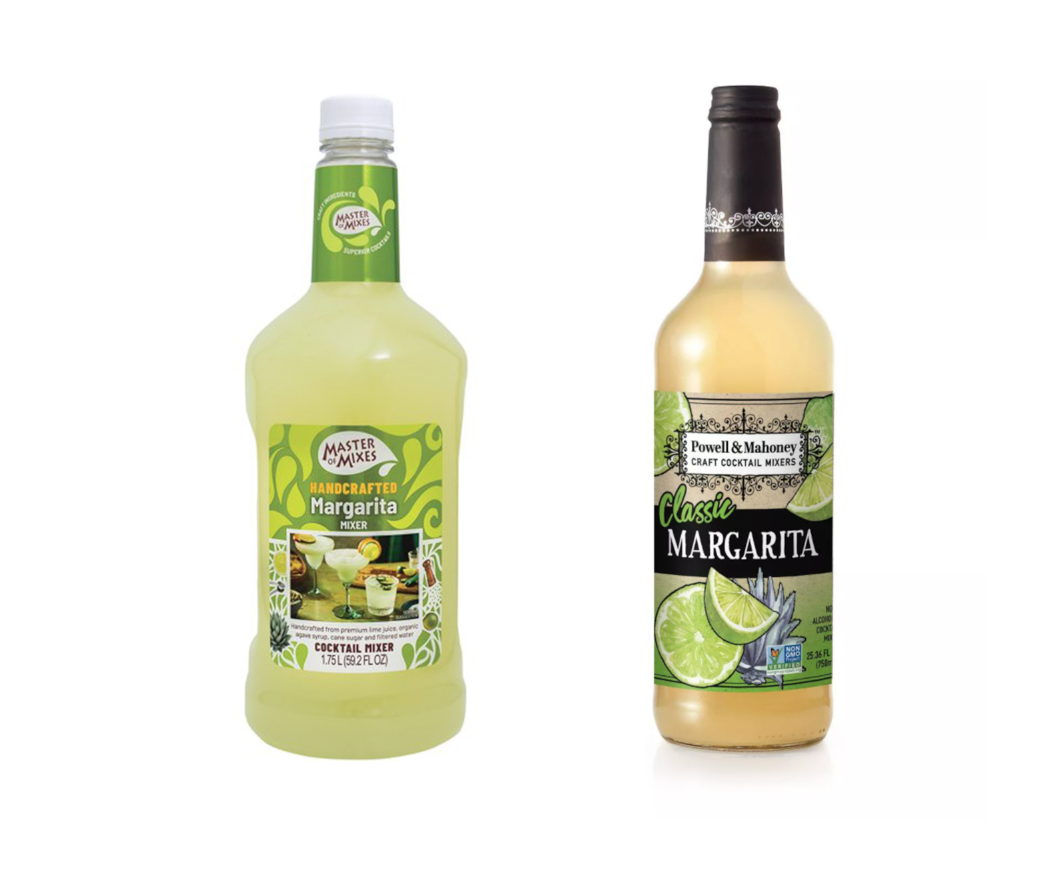 two bottles of margarita mixes side by side on a white background