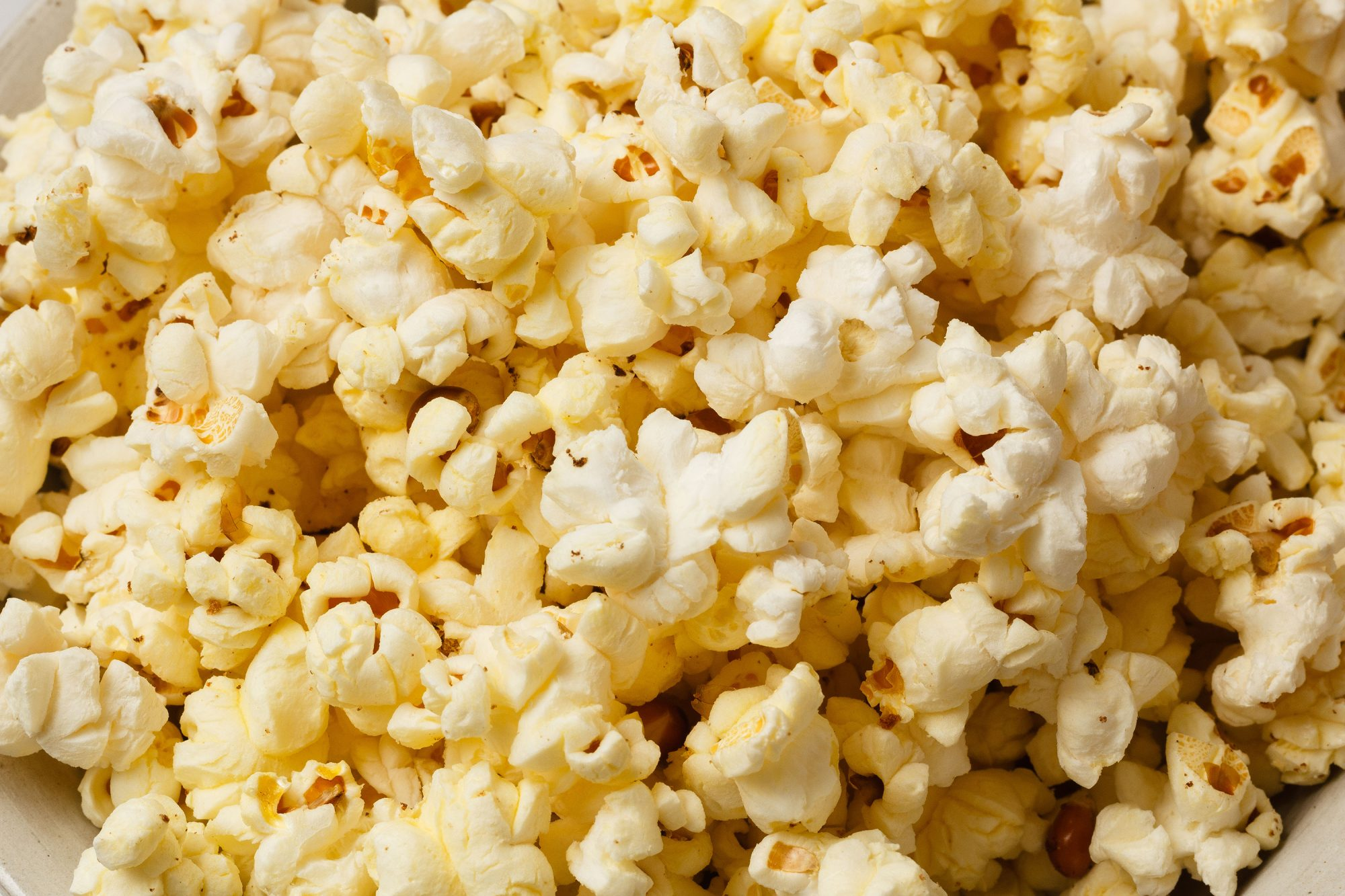 close up of buttery popcorn