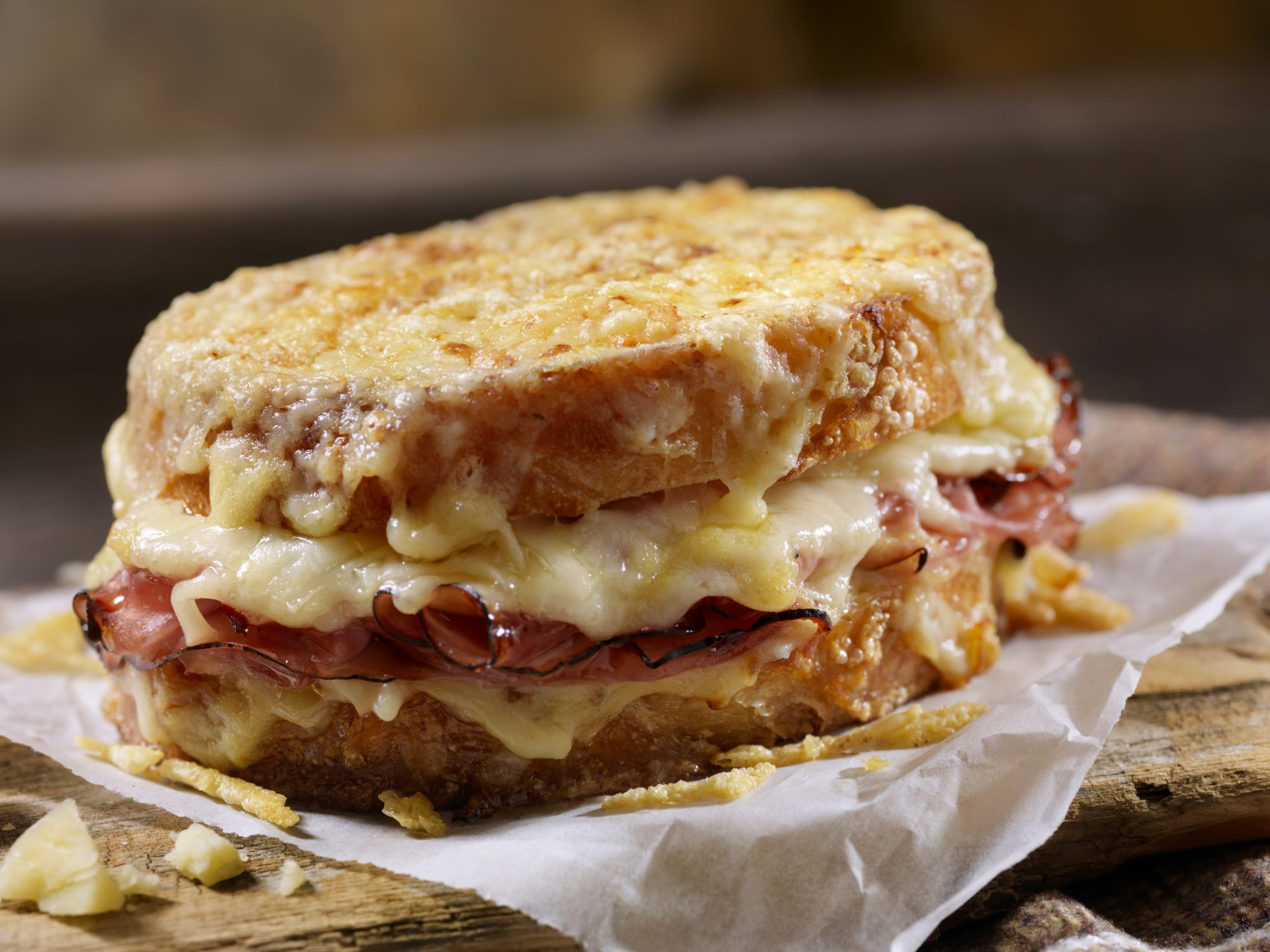 Croque Monsieur, Grilled Cheese Sandwich with Black Forest Ham, Gruyere and Bechamel Sauce