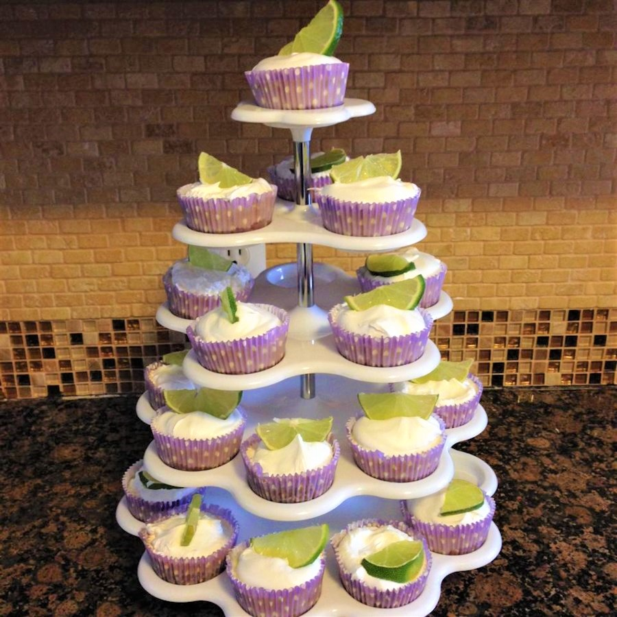 mini key lime pies on a large tiered stand