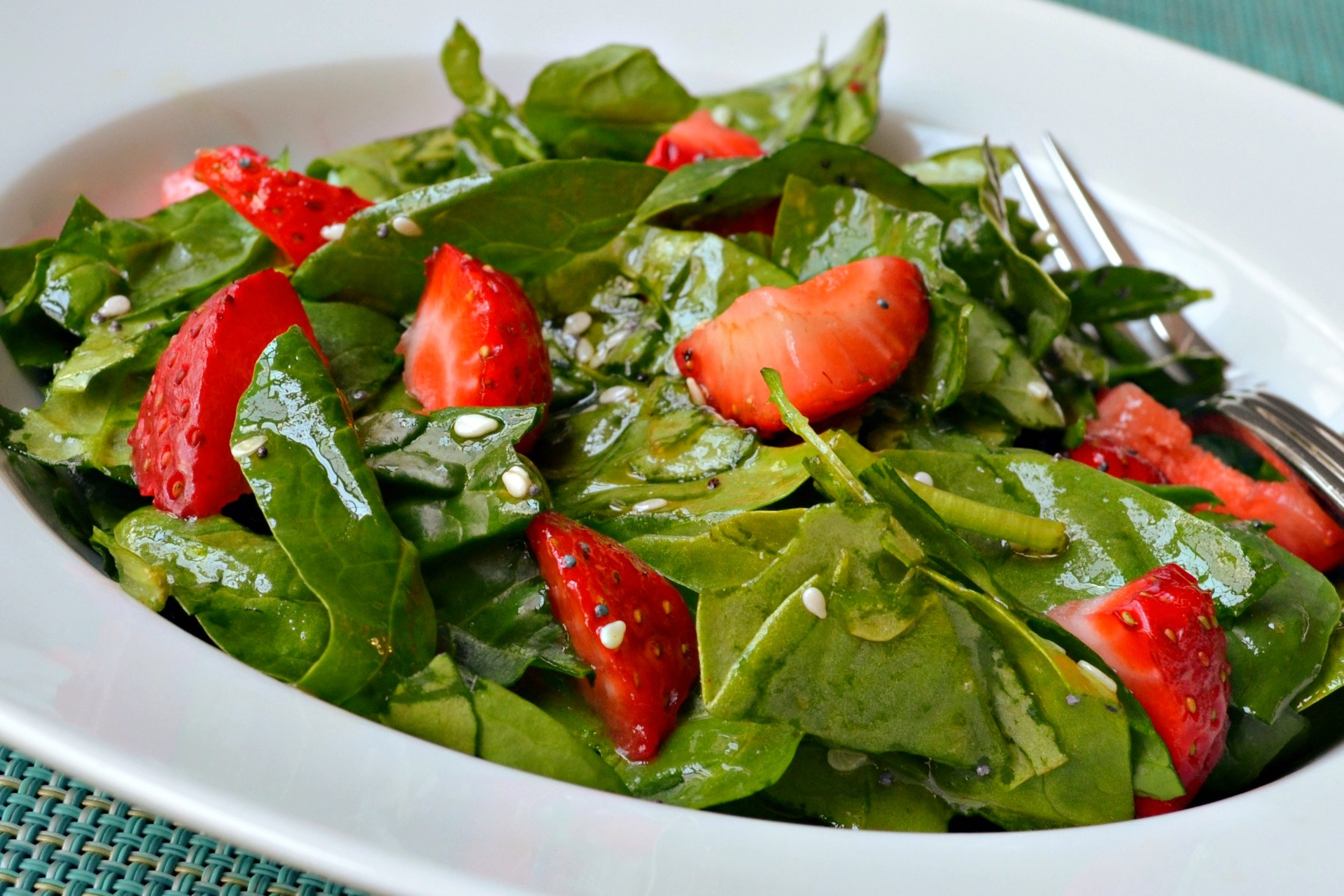 bowl of strawberry and spinach salad