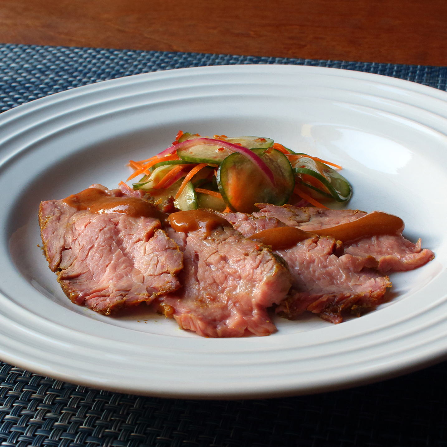 Thai-Dipped Beef Tri Tip on a white plate