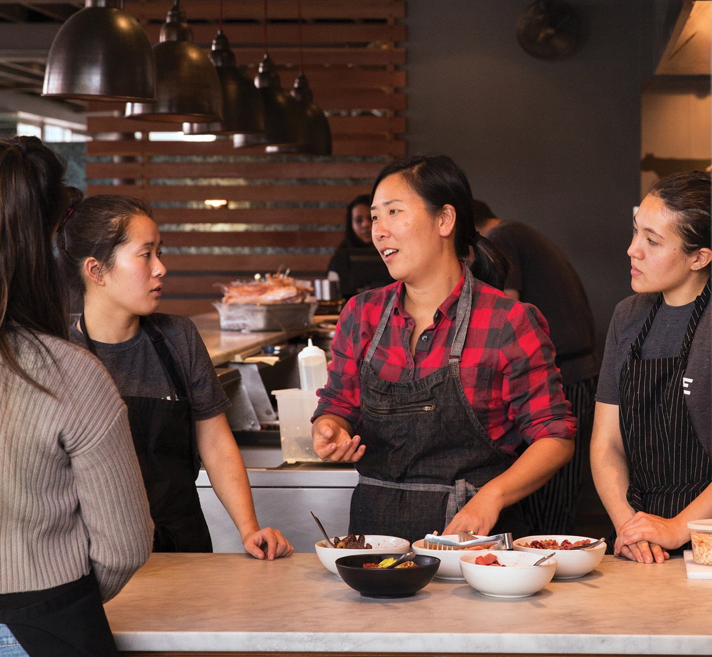 Rachel Chang with staff at Joule