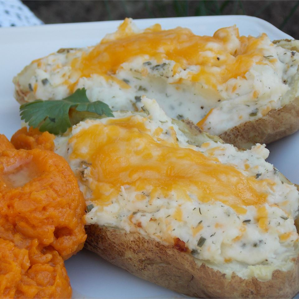 twice baked potatoes with melted cheese topping
