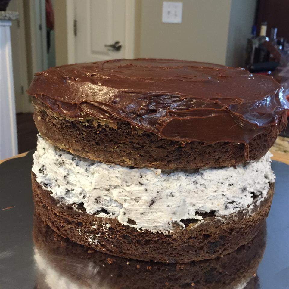 This cake doesn't just look and taste like a giant Oreo — it also incorporates everyone's favorite cookie into the creme filling. This recipe starts with a box mix, but you can also use your favorite homemade cake recipe. And remember, absolutely nobody is stopping you from adding more Oreos.