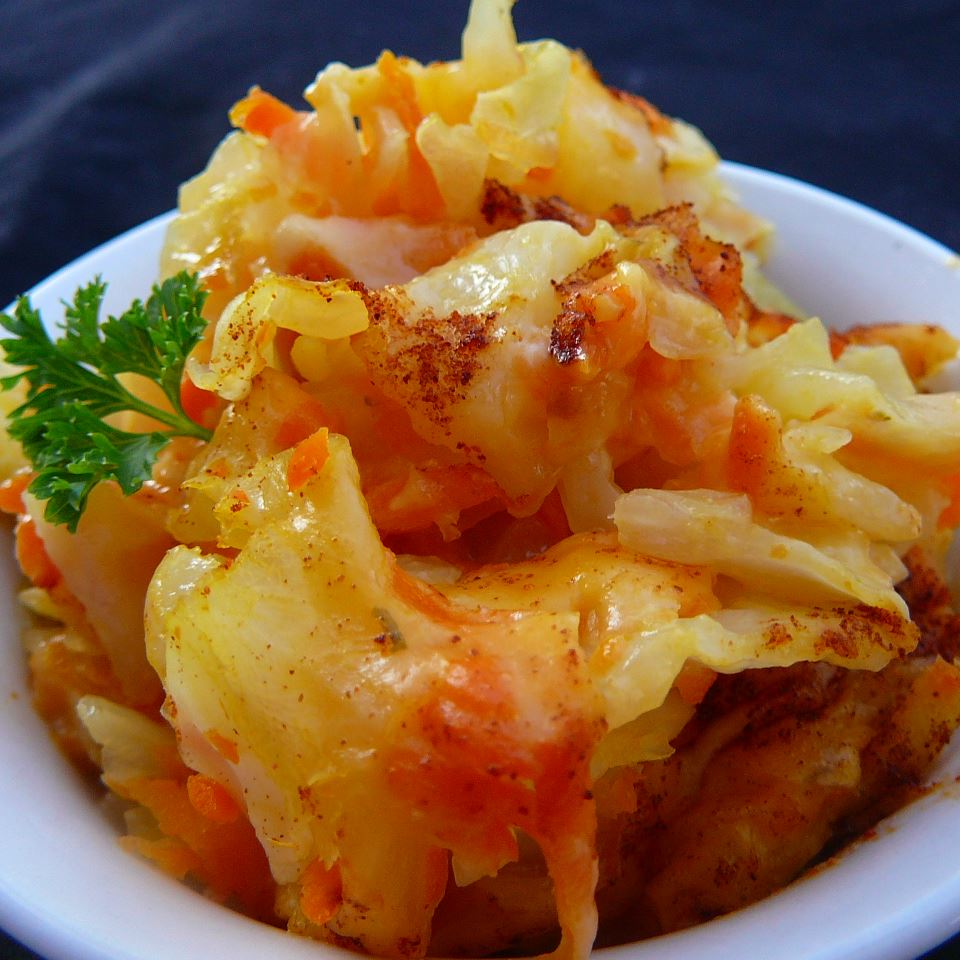 Cabbage-Carrot Casserole in a white bowl