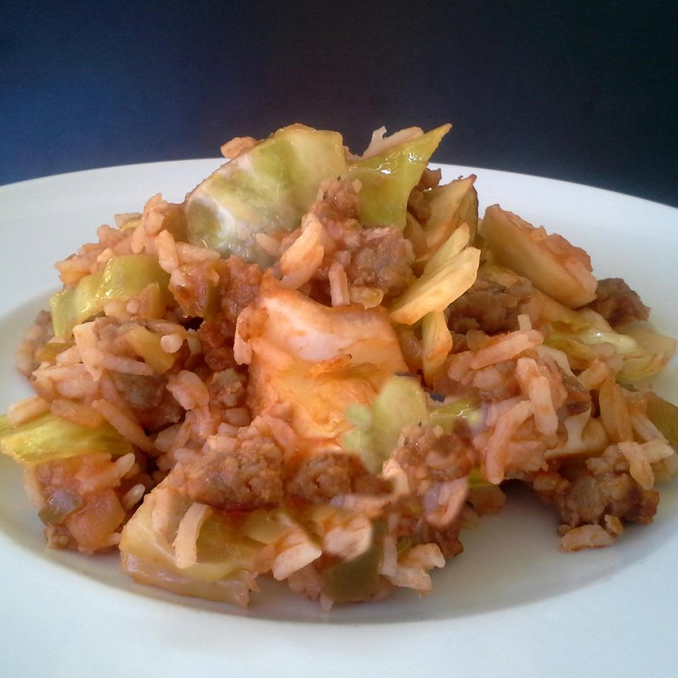 Deconstructed Cabbage Roll Casserole on a white plate