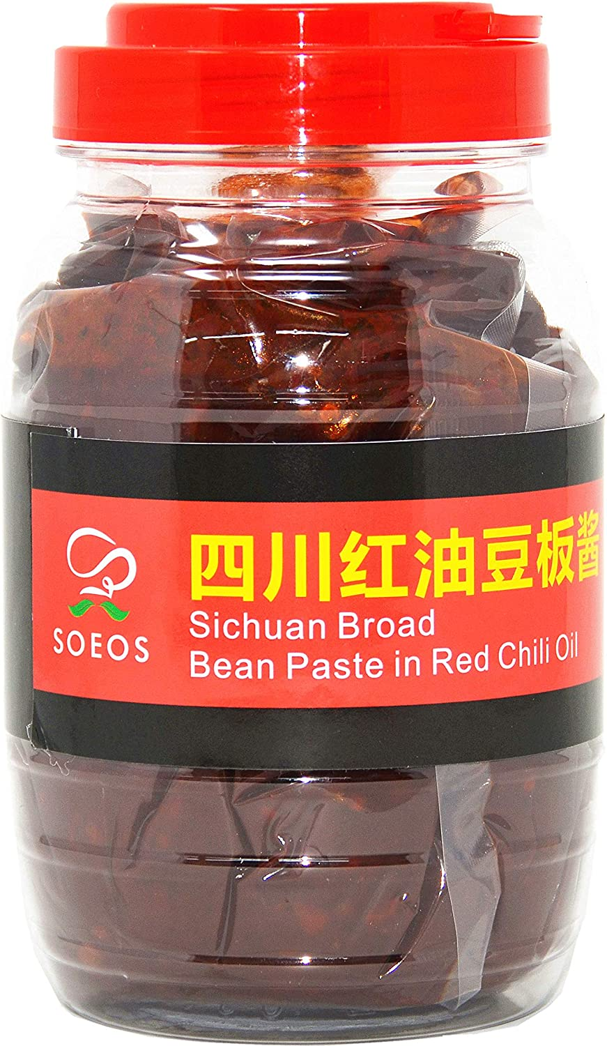 SOEOS Sichuan Pixian Broad Bean Paste with Chili Oil in a clear bottle