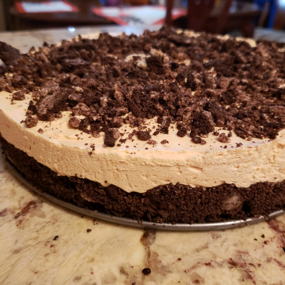 No Bake Double Good Dessert on a marble table