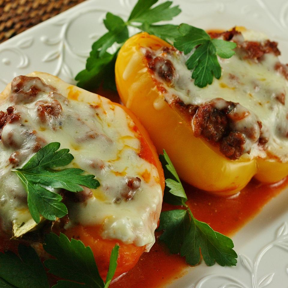 Lasagna Pepper Boats on a white plate