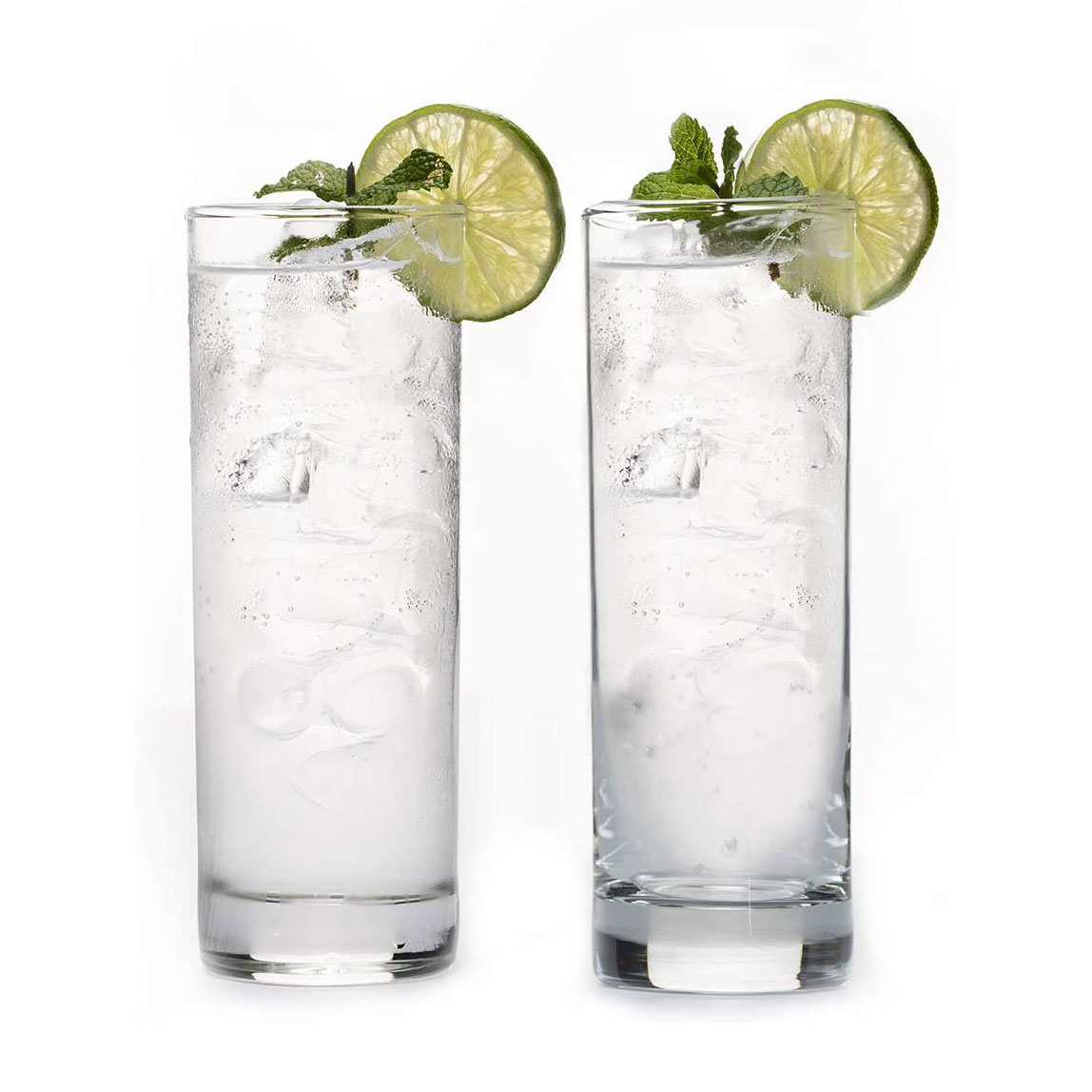 two collins glasses with drink inside