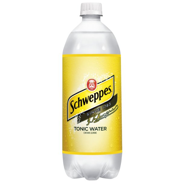 one liter bottle of Schweppes tonic water