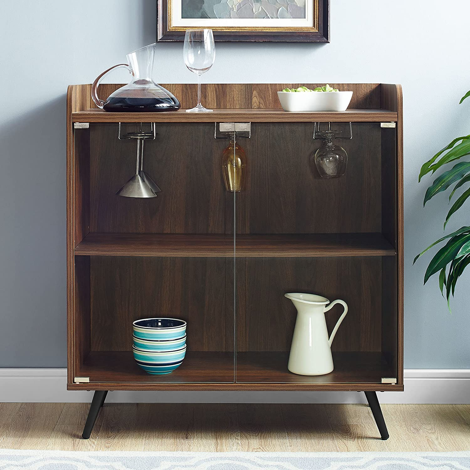 wooden bar cabinet with clear doors