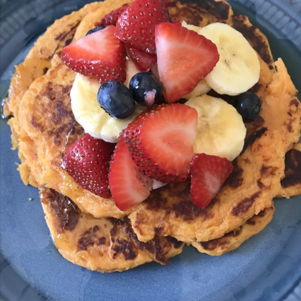 """Mashed sweet potatoes and ground nutmeg are added to a traditional pancake recipe to create these fluffy fall breakfast pancakes. """"I had a baked sweet potato from supper the night before and put it to good use in this wonderful recipe!"""""""