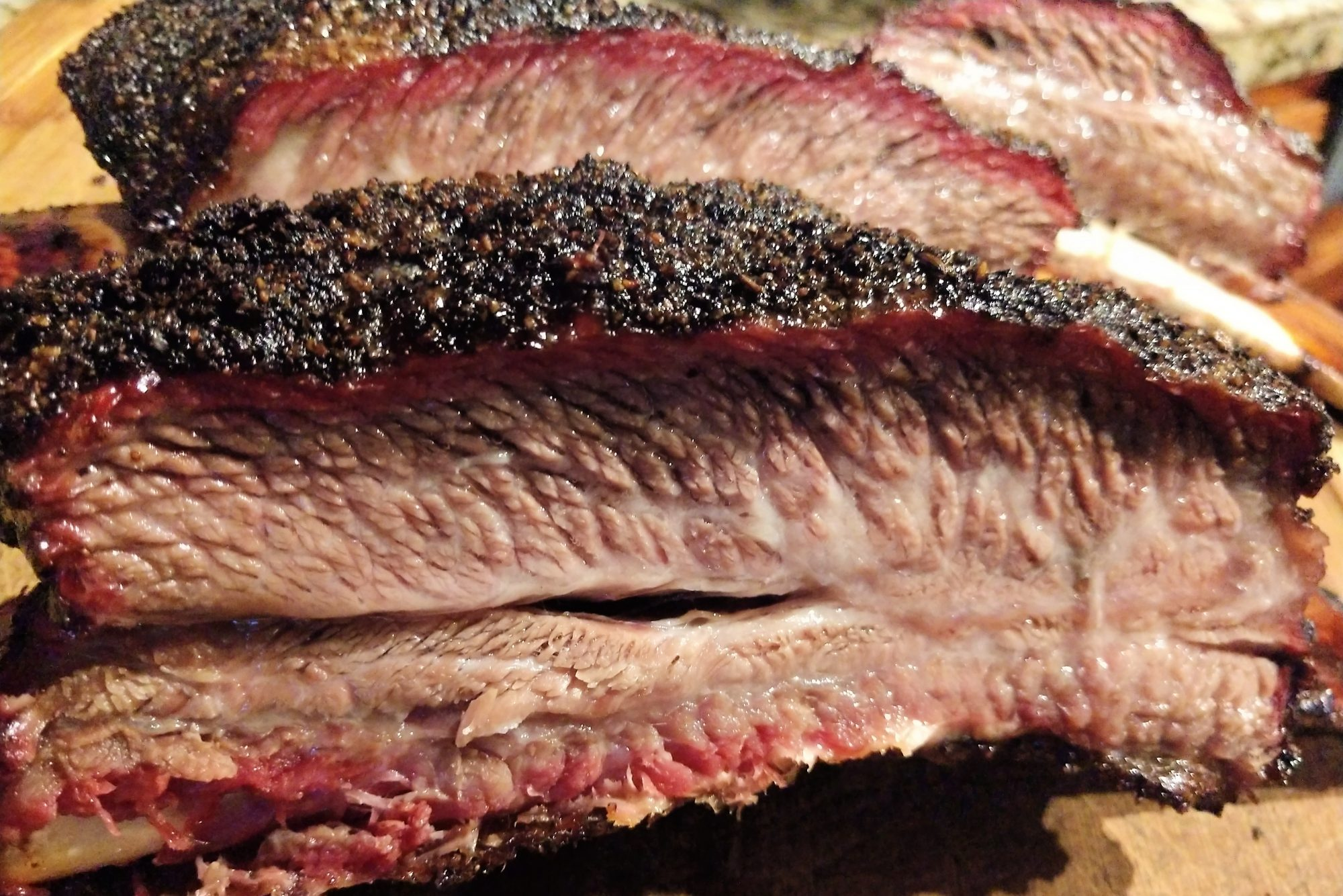 close up of smoked texas bbq beef ribs