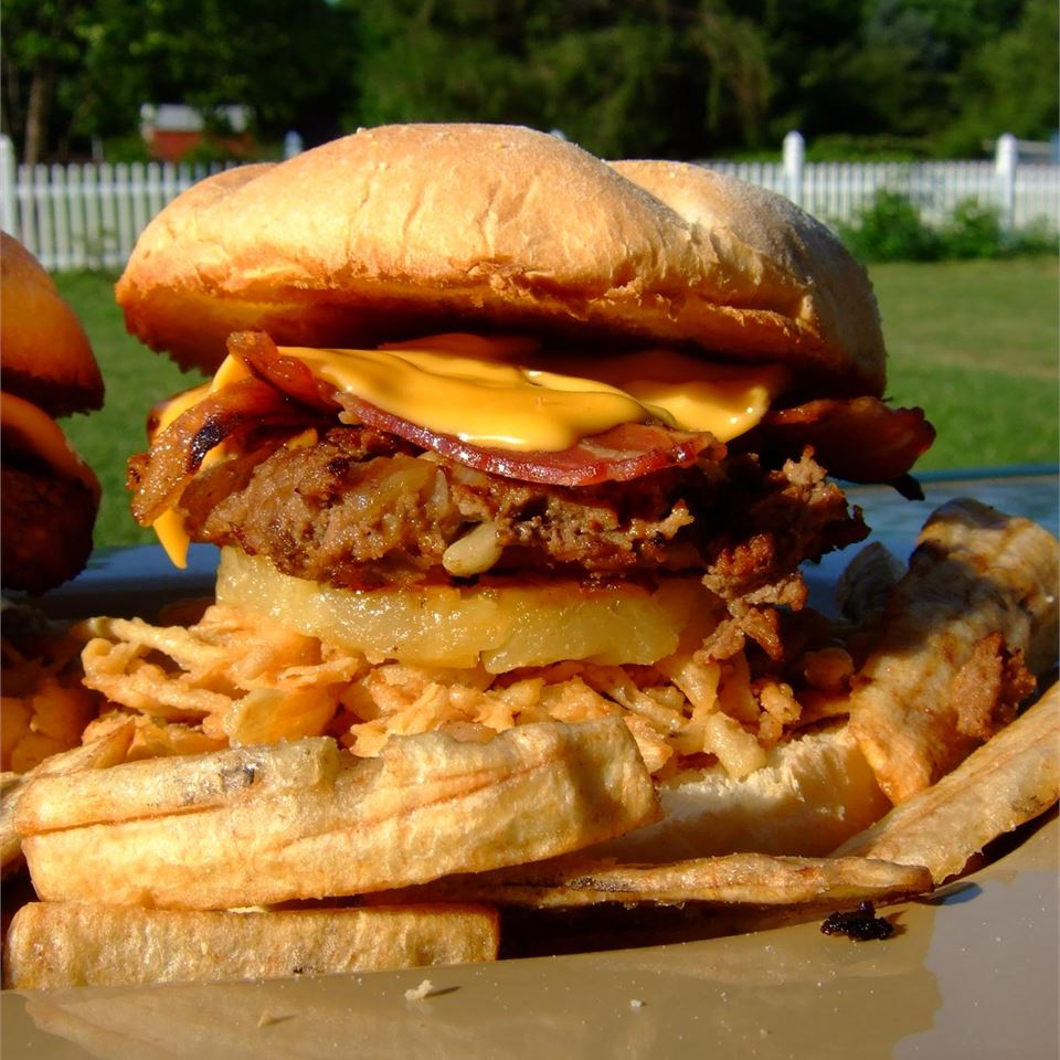 burger with cheese, bacon, and french fried onions