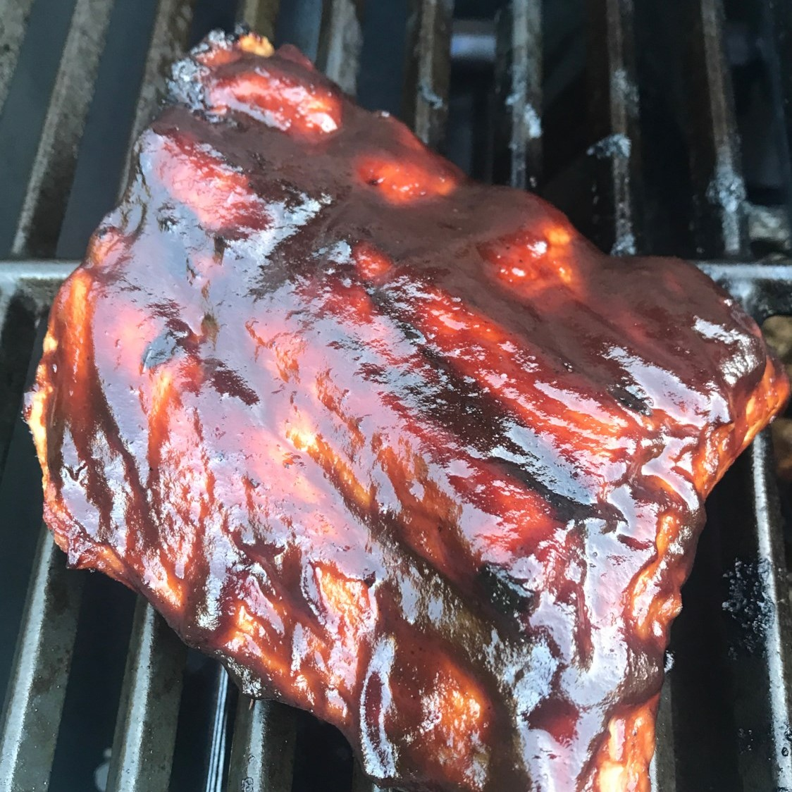 grilled bbq ribs on a grill grate