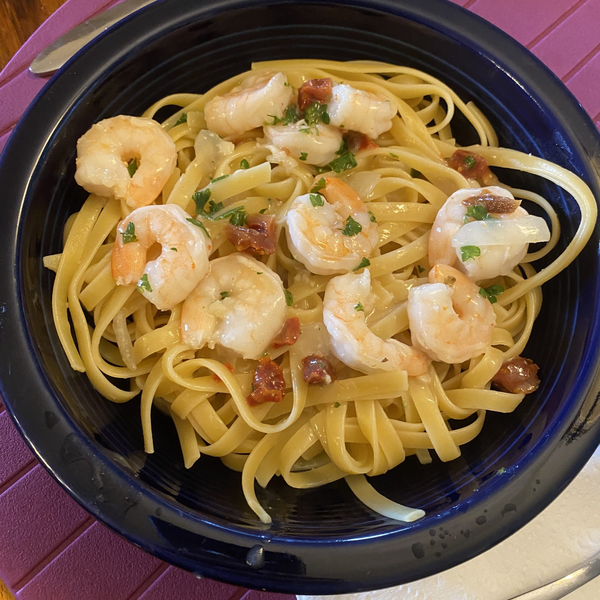 fettucine with shrimp and sud dried tomatoes