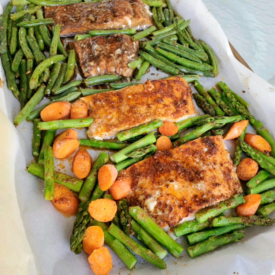 Meal Prep Salmon Dish on a white table