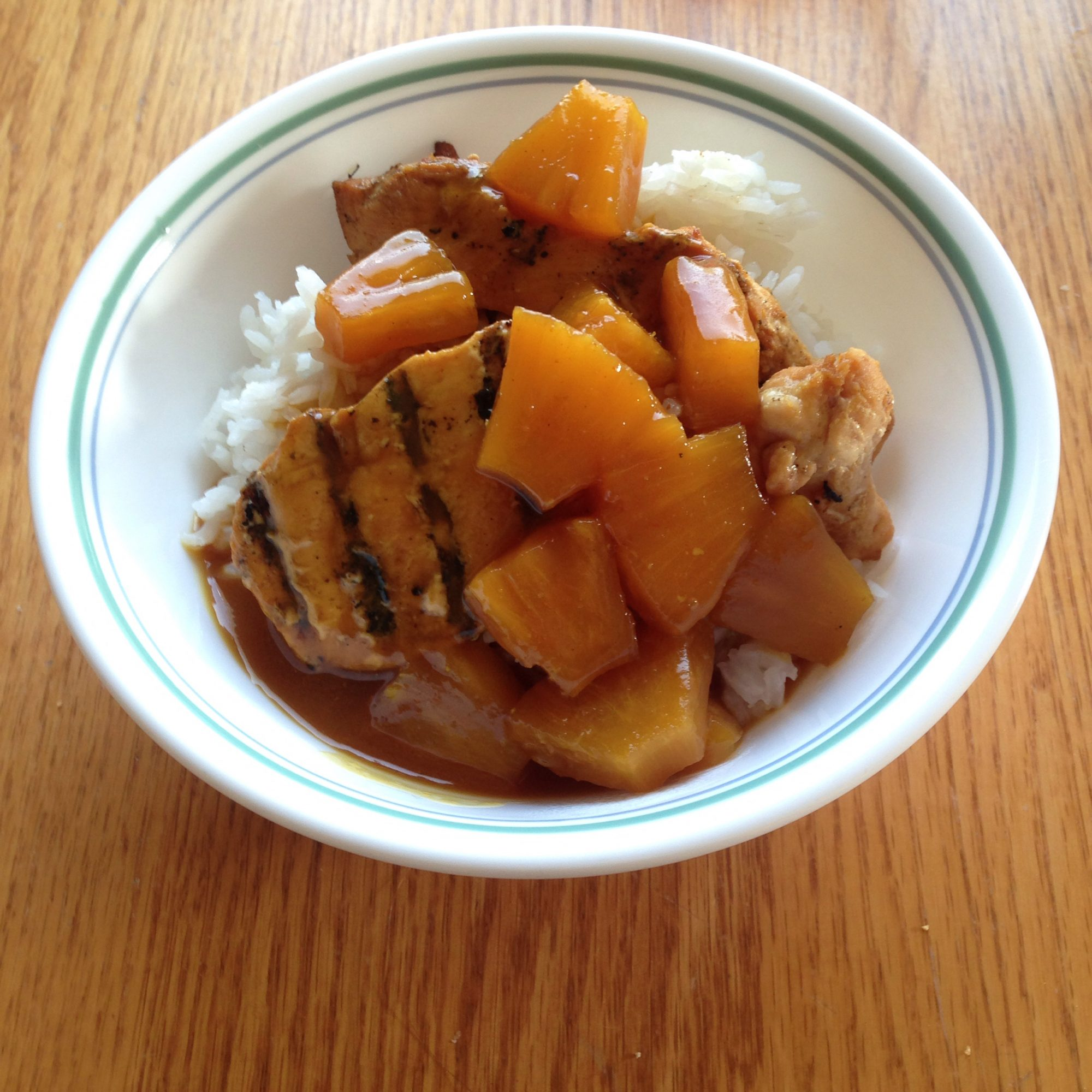 grilled chicken with pineapple, rice, and fruit glaze