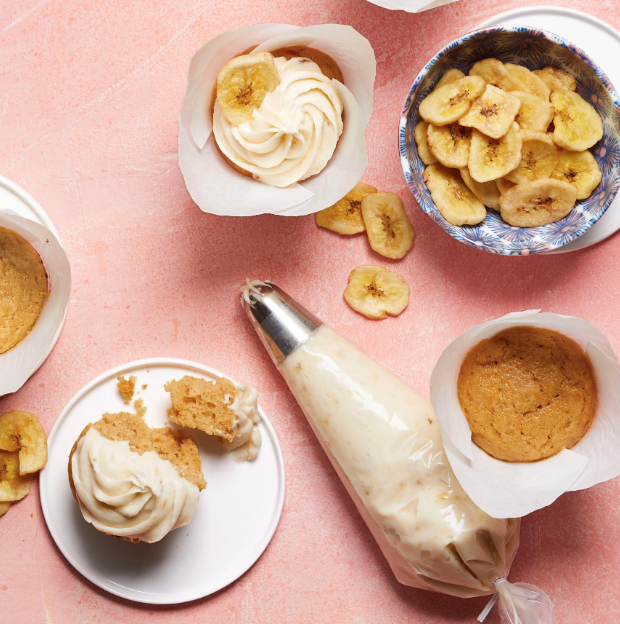 """""""Combine banana butter frosting with this delicious peanut butter cupcake recipe from [my] grandmother, Lottie, for a decadent dessert,"""" says recipe creator Lisa Altmiller."""