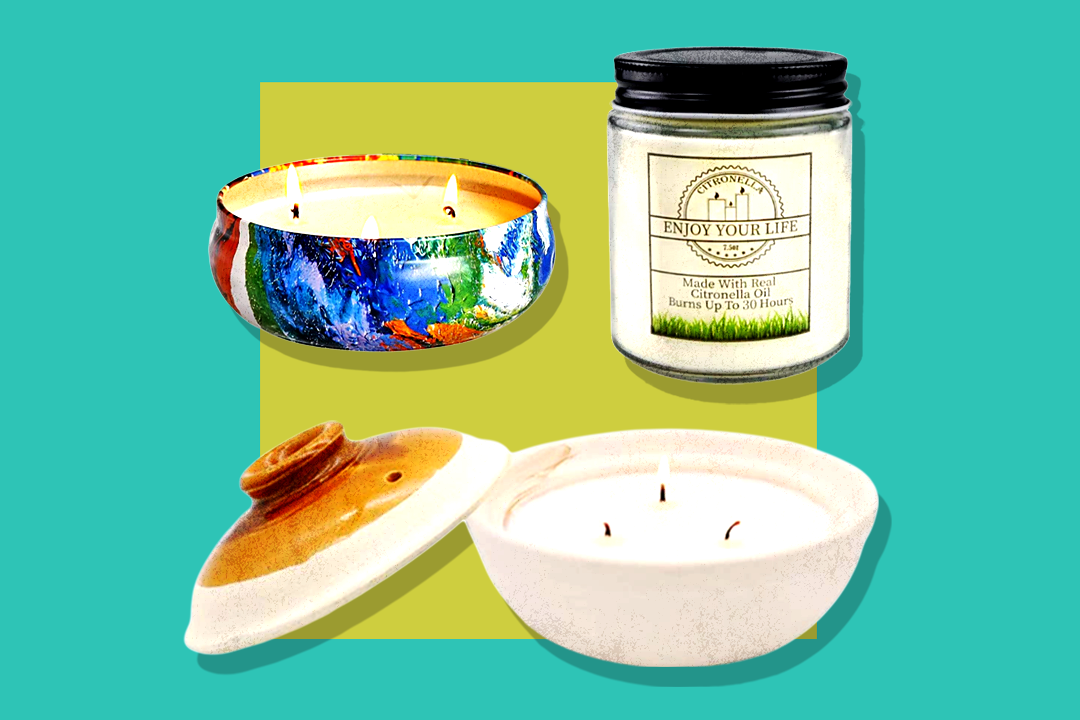 various citronella candles against blue and green background