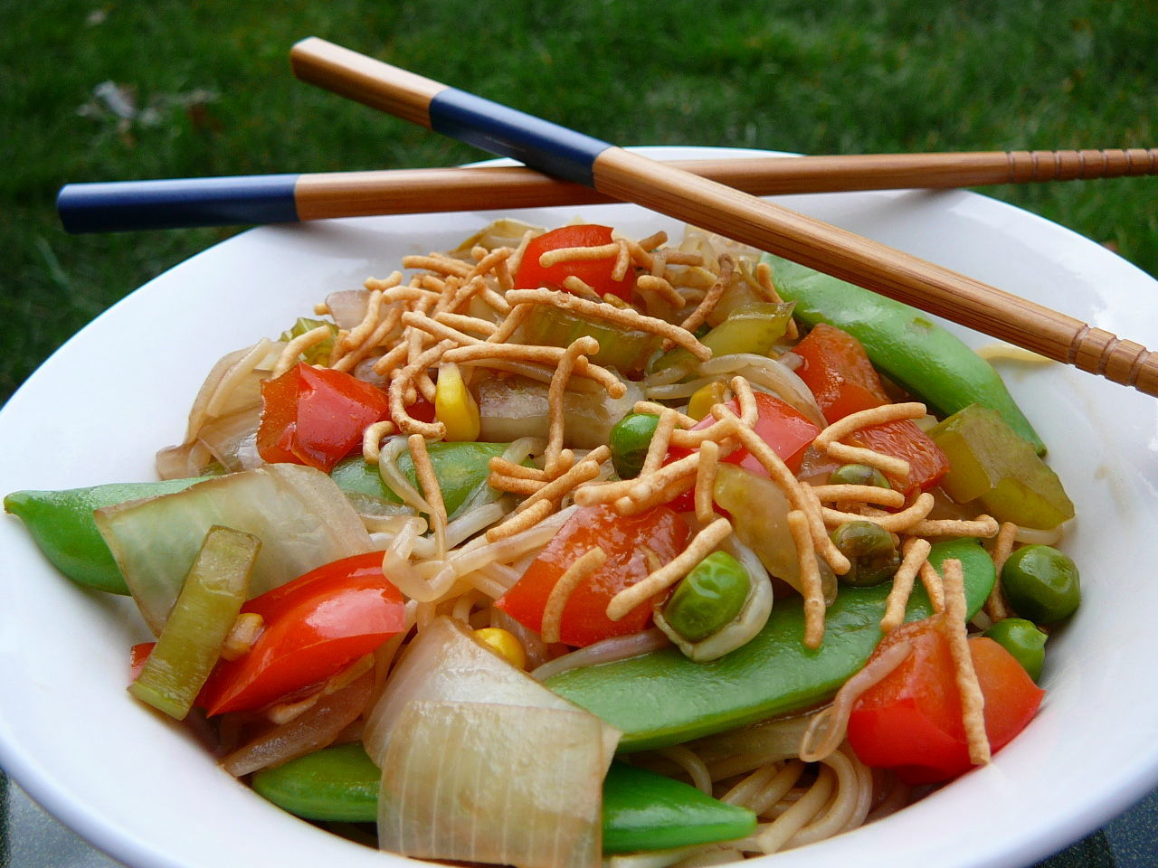 """A colorful Chinese lo mein dish packed with celery, mushrooms, red bell peppers, bean sprouts, and snow peas. """"My whole family loved this even the veggie haters,"""" says reviewer Mich. """"The mushrooms make it seem like there is meat so no complaints from my meat eaters either!"""""""