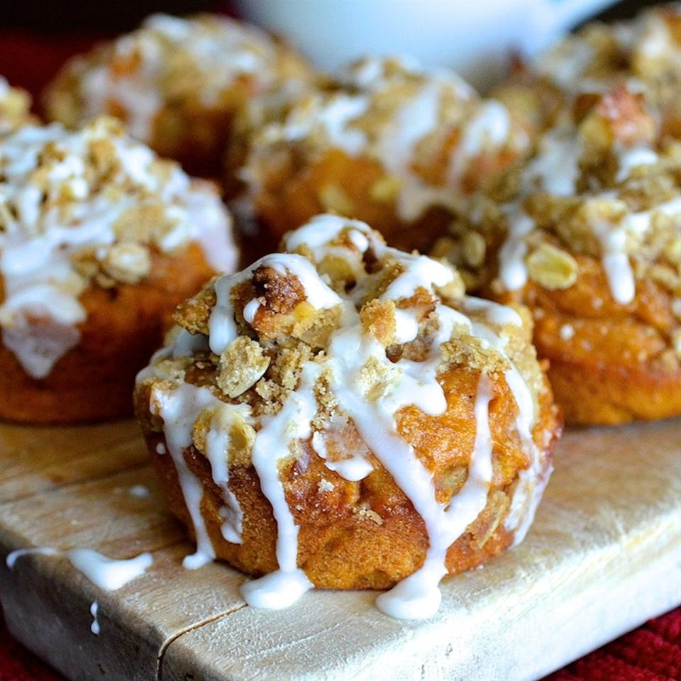 muffins with crumb topping and white icing