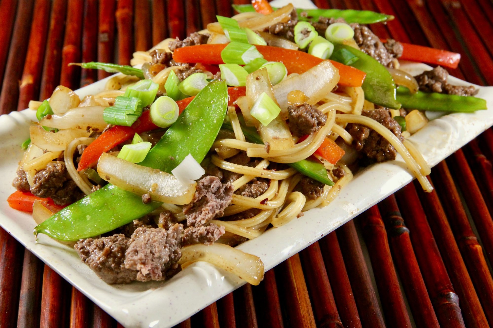 """Recipe creator lutzflcat got rave reviews for this lo mein recipe, which she makes with an array of vegetables and ground beef for an easy, inexpensive meal. She says: """"You can make the sauce in advance and refrigerate, which makes this even more suitable for a quick weeknight dinner."""""""