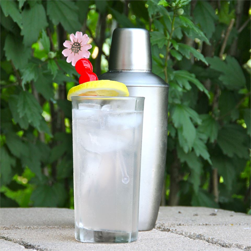 tom collins in highball glass in front of cocktail shaker
