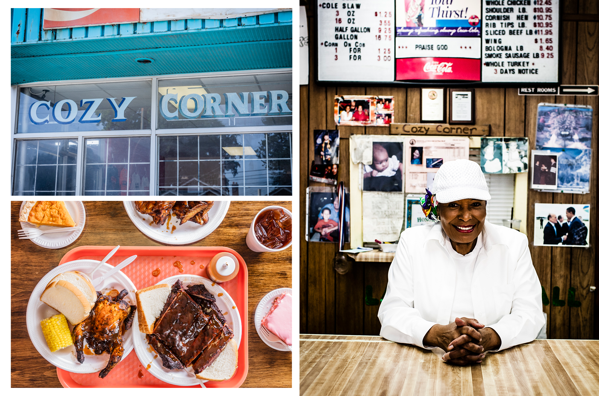 composite image of Cozy Corner cafe, an array of BBQ chicken, ribs, corn, tea, and desserts, and Desiree Robinson