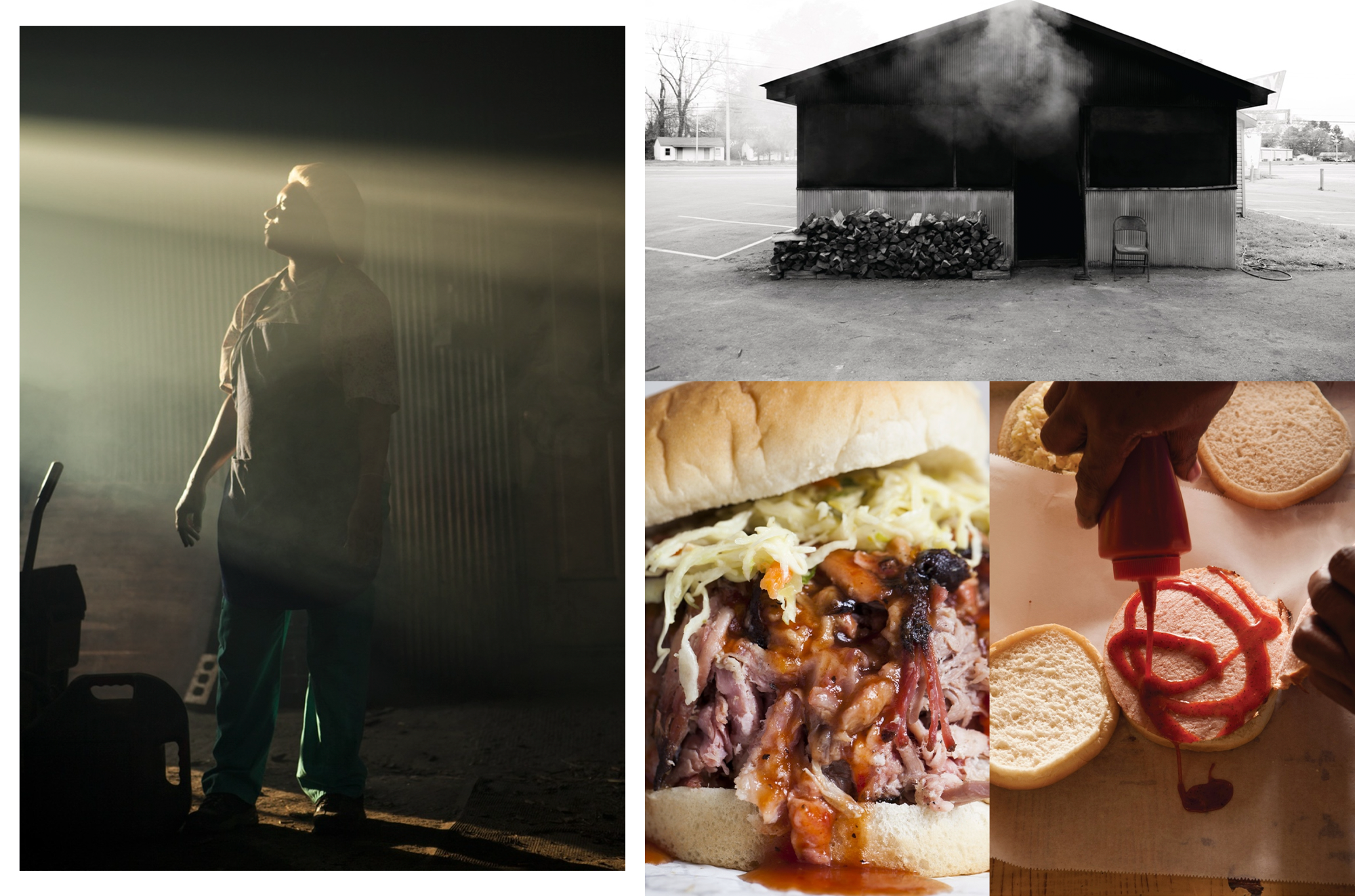 composite of Pitmaster Helen Turner in her smokehouse; photo of the exterior of her smokehouse, her BBQ sandwich, and a sandwich in progress