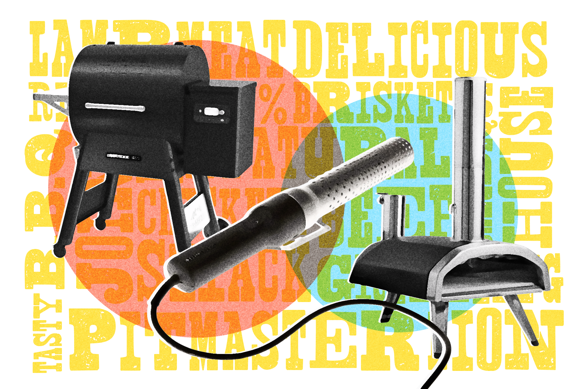 composite of high tech barbeque gadgets: pellet grill, electric charcoal starter, pizza oven