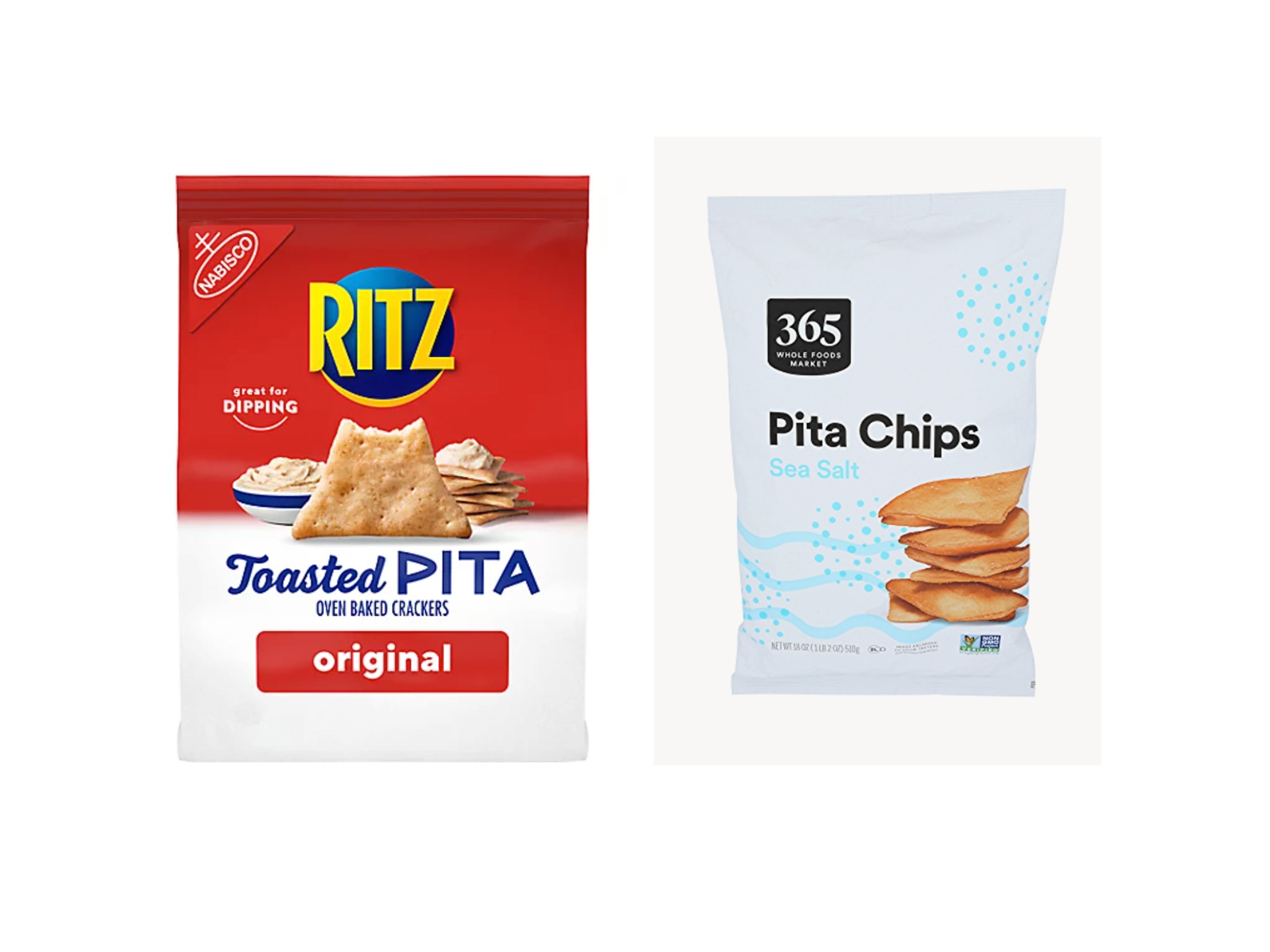 ritz toasted pita crackers and whole foods 365 pita chips