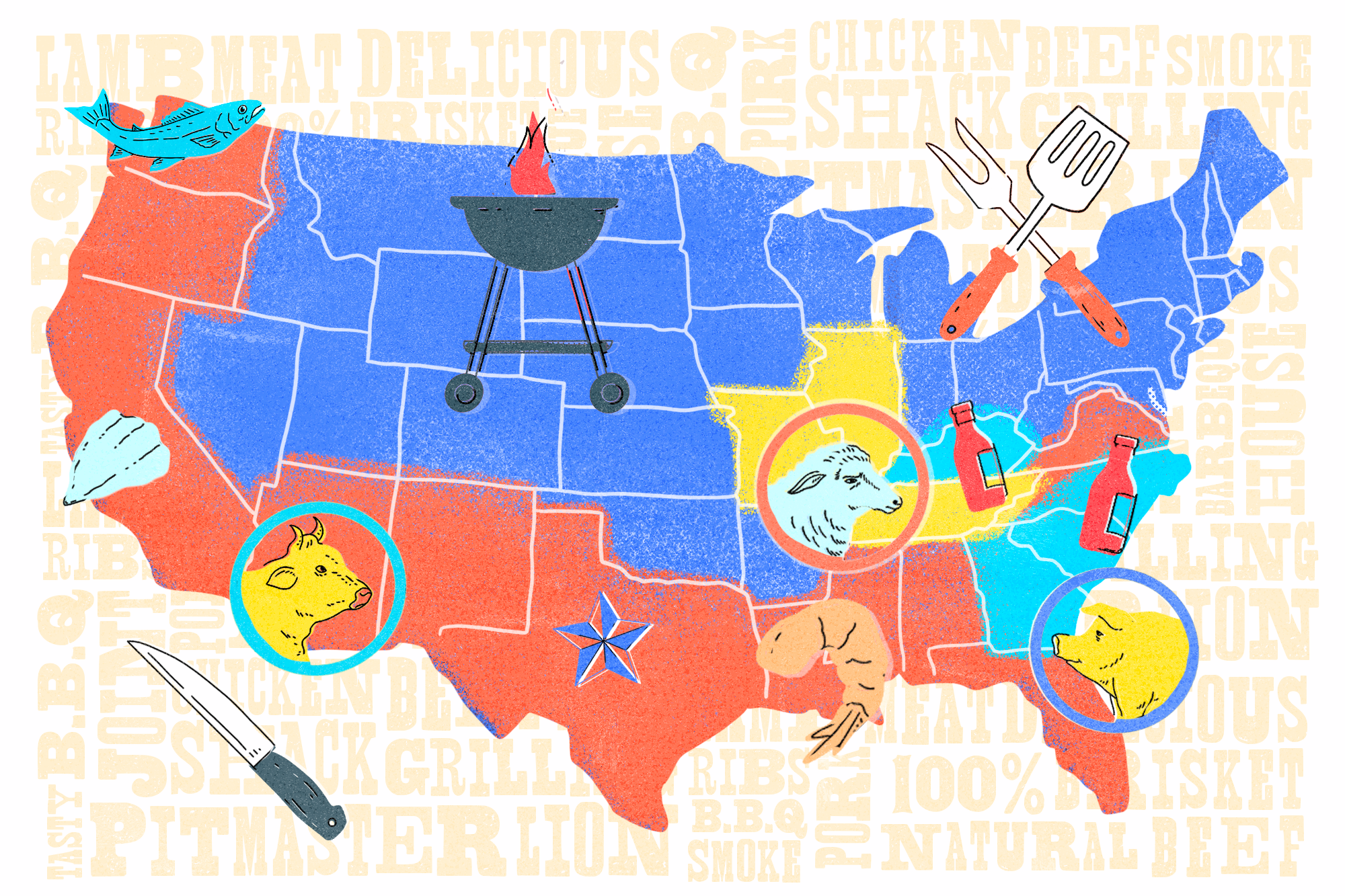 map of different BBQ styles in the United States