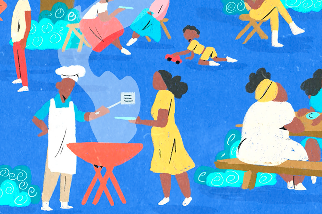 illustration of people gathered at an outdoor BBQ