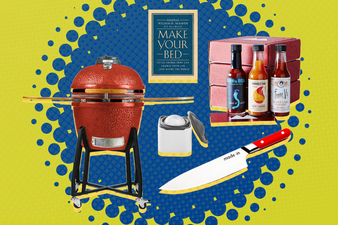 charcoal grill, book, ice cube block, chef's knife, hot sauce kit