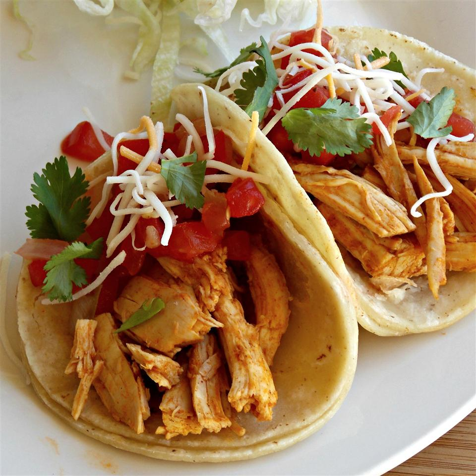 Steve's Roasted Chicken Soft Tacos on a white plate