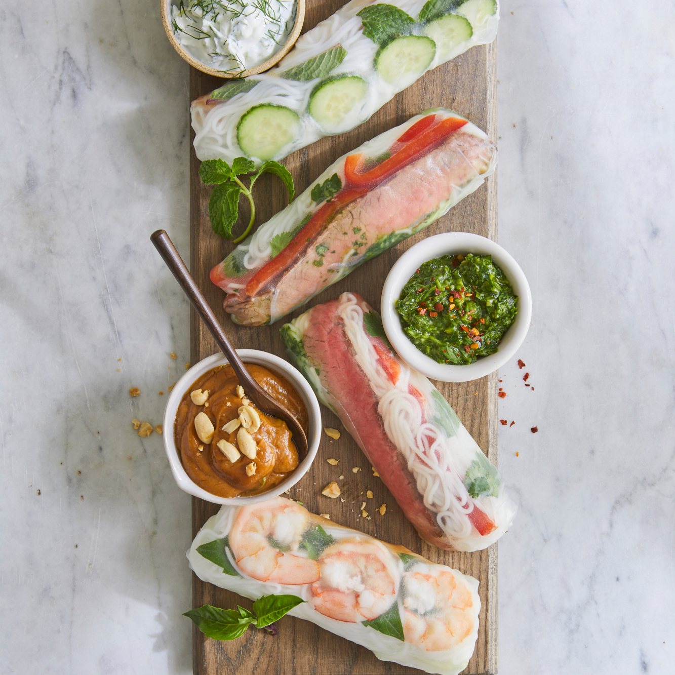 Easy Spring Rolls on a wooden plate