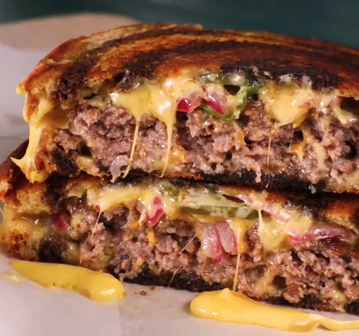 patty melts with pickled onion and jalapeno