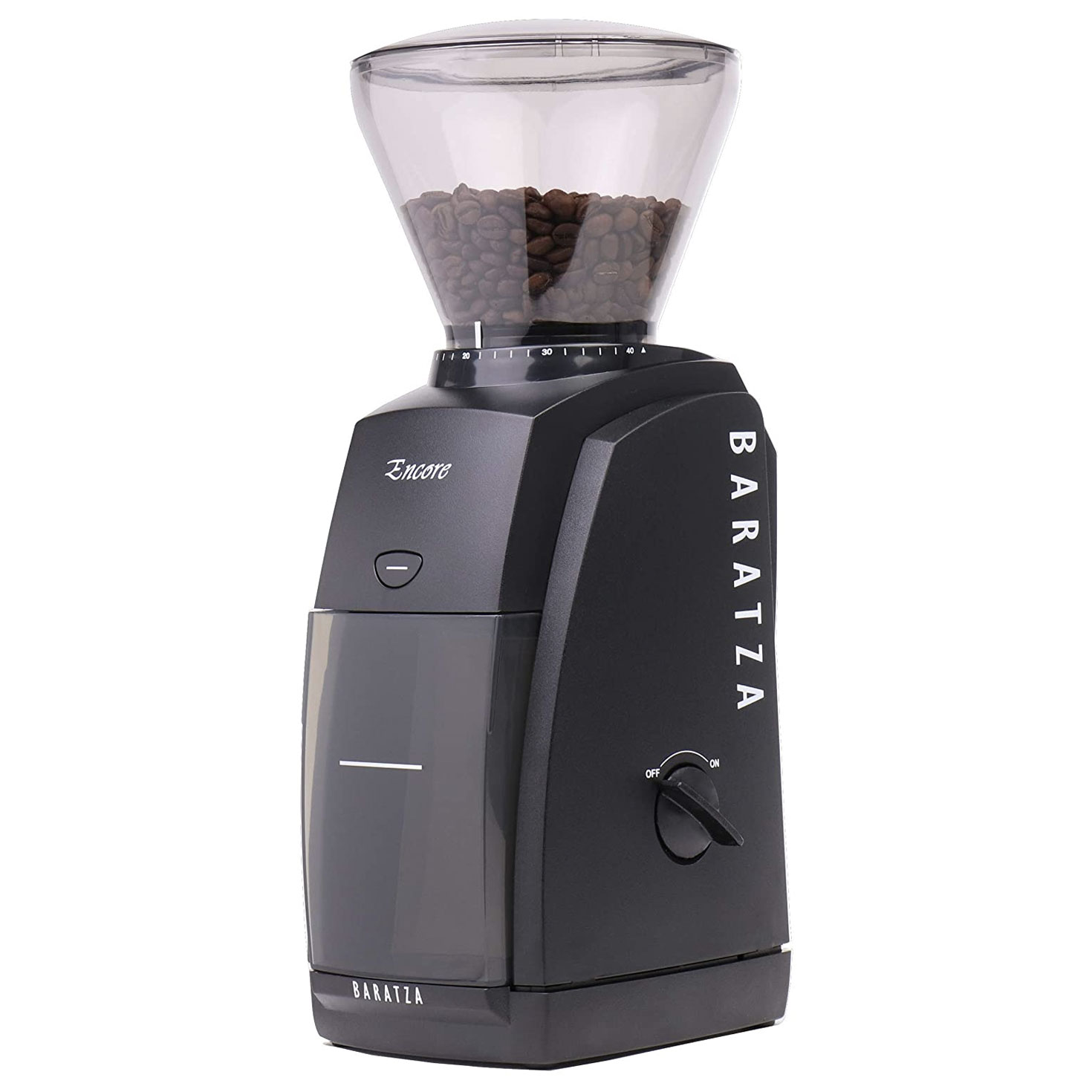 black coffee grinder with beans at the top