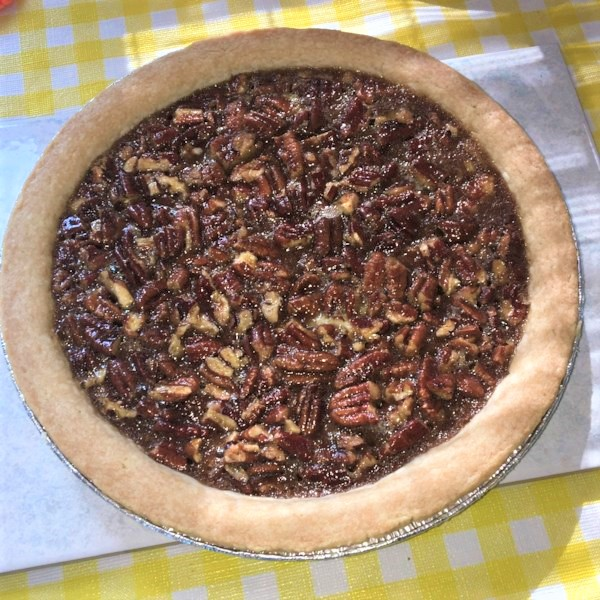 a whole pecan pie made with honey instead of corn syrup