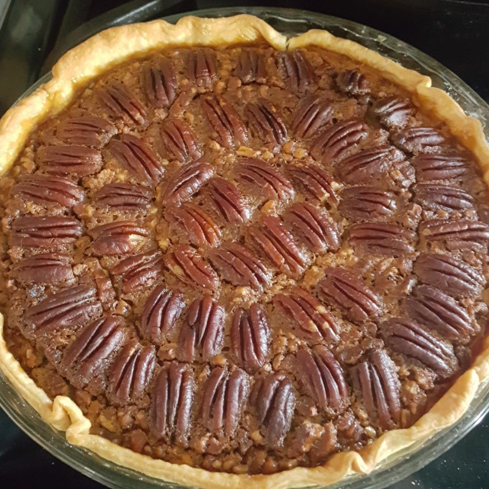 a freshly baked pecan pie without corn syrup