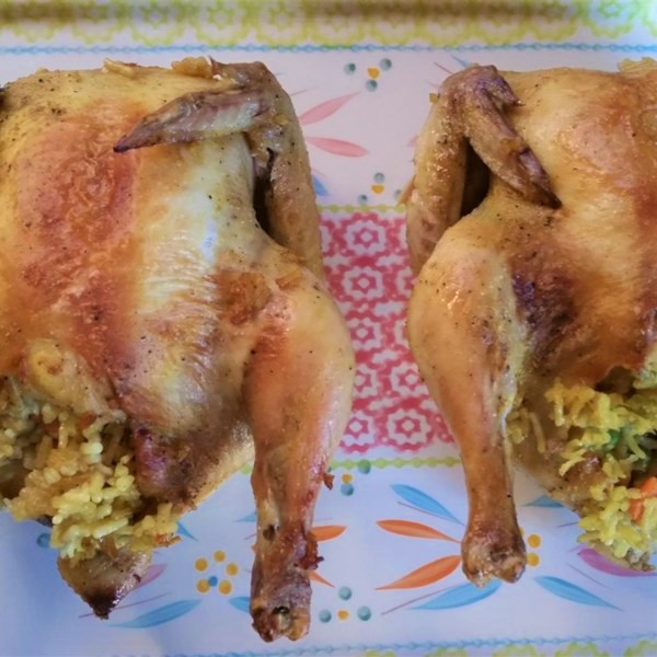 two cornish hens with rice stuffing